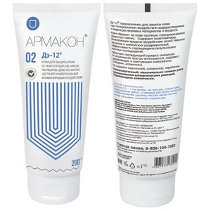 Крем для защиты кожи от нефтепродуктов, красок, растворов цемента, кислот, щелочей универсальный (комбинированного действия) 02 ДЭ-12